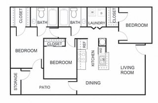3 bedroom 2 bathroom C1 floorplan at Forest Creek Apartments in Houston, TX