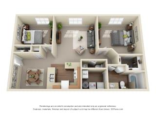 Floor Plan 2 Bed 1.5 Bath Classic