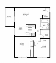 2 Bed 1 Bath The Cascade Floor Plan Eagan Place Apartments in Eagan, MN_The Cascade