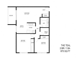 2 Bed 1 Bath The Teal Floor Plan at Eagan Place, Eagan, Minnesota