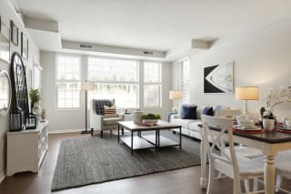 Living Room With Expansive Window at Waterstone Place, Minnetonka