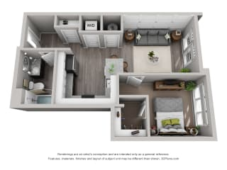 Carter Floor Plan at CityWay with 1-bedroom and 1-bathroom