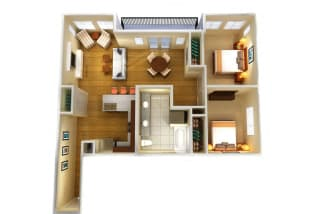 Floor Plan Two Bed One Bath B