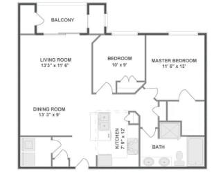 B3 Floor Plan at The MilTon Luxury Apartments, Vernon Hills, 60061