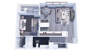 Range Apartments 1x1 D Floor Plan