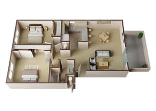 Devon Two Bed One Bath Floor Plan at Carrington Apartments, Fremont