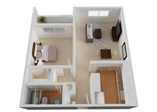 One Bed One Bath Floor Plan at The Monterey , California