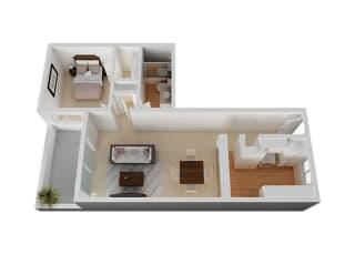 One bedroom One bathroom Floor Plan at The Monterey , California, 95117