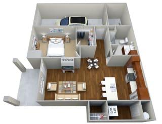 1 Bedroom/1 Bath (839 sf) Floor Plan at Cedar Place Apartments, Cedarburg, WI