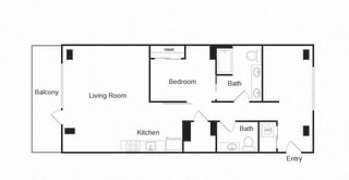 Couch9 Apartments 1B 1B Floor Plan