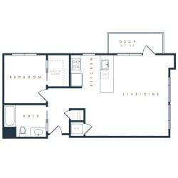 1G – 1 Bedroom 1 Bath Floor Plan Layout – 798 Square Feet
