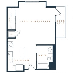 S2 – 0 Bedroom 1 Bath Floor Plan Layout – 491 Square Feet