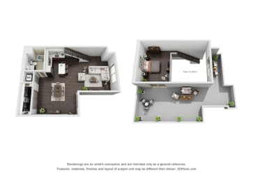 Studio Loft Penthouse Floor Plan at The Mansfield at Miracle Mile, California, 90036