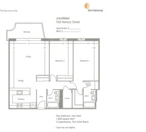 2 Bed 2 Bath B Floorplan