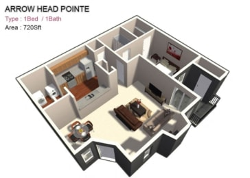 1x1 Large floor plan 720 sf