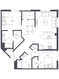 B4 floor Plan 2x2 1220 sf