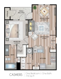 One Bedroom One Bath Floor Plan at Belmont Place, Georgia