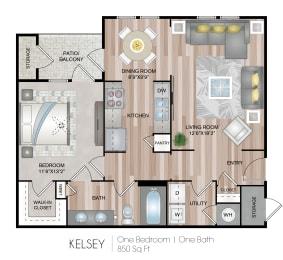 One bedroom One bathroom Floor Plan at Belmont Place, Georgia, 30067