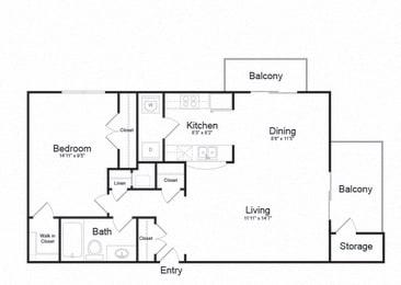 One Bed One Bath Floor plan at Ellicott Grove, Ellicott City, 21043