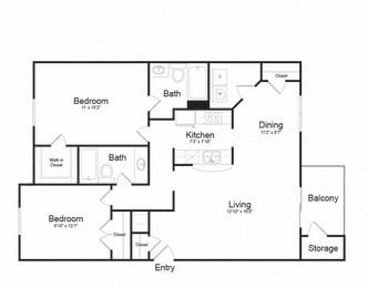 2 Bed 2 Bath Floor plan at Ellicott Grove, Ellicott City