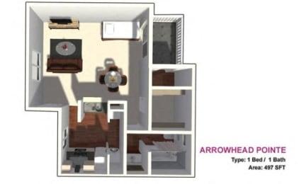 studio floor plan 497 sf