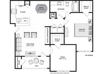 The Hideaway Floor Plan at Blu on the Boulevard, Baton Rouge, 70810
