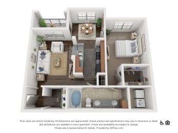 One Bed One Bath A2 Floor Plan at Villas at Stone Oak Ranch, Texas, 78727