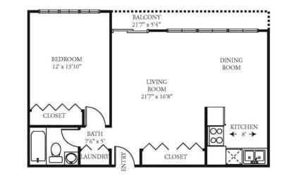 Vista 1B1B 688 sq ft