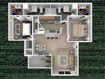 Floor Plan Two Bedroom, Two Bath, Large