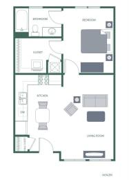 Acklen Floorplan at 2100 Acklen Flats, Nashville, 37212
