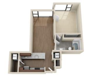 One bedroom floorplan titled 1J
