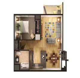 One bedroom One bathroom Floor Plan at Steedman Apartments, MRD Conventional, Waterville, OH, 43556