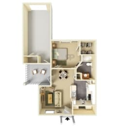 Floor Plan 1 Bedroom | 1 Bathroom G