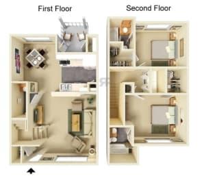 Floor Plan 2 Bedroom | 2.5 Bathroom TH
