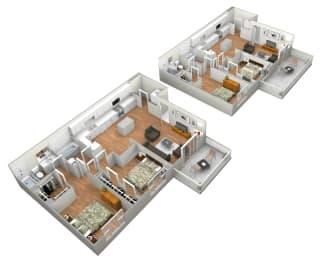 Cadiz 2 Bedroom 2 Bathroom Floor Plan at Levante Apartment Homes, Fontana, California