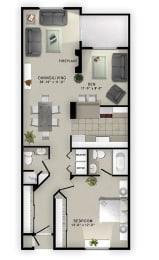 1 Bedroom 1.5 Bath Floor Plan at Augusta Court Apartments, Houston, Texas