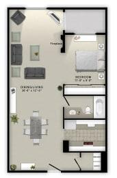 1 Bedroom A 1 Bath Floor Plan at Augusta Court Apartments, Houston, Texas