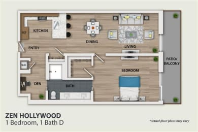 Floor Plan 1 Bedroom 1 Bath Den (A3)
