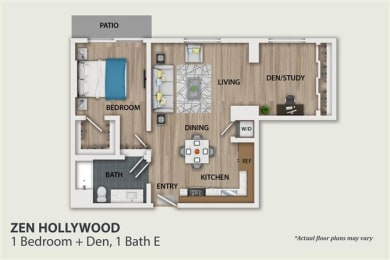 Floor Plan 1 Bedroom 1 Bath Den (A4)