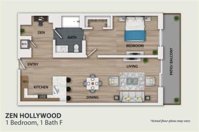 Floor Plan 1 Bedroom 1 Bath Den (A5)