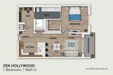 Floor Plan 1 Bedroom 1 Bath Den (A6)