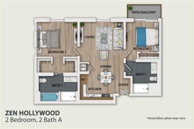 Floor Plan 2 Bedroom 2 Bath (B1)