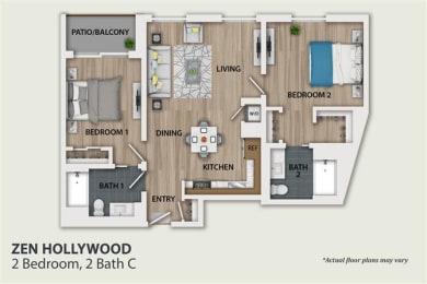 Floor Plan 2 Bedroom 2 Bath (B2)