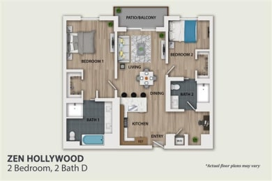 Floor Plan 2 Bedroom 2 Bath (B3)