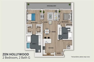 Floor Plan 2 Bedroom 2 Bath (B6)