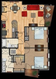 B3 floor plan 2 bed 2 bath 1040 sqft