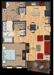 B1 floor plan 2 bed 1 bath 824 sqft