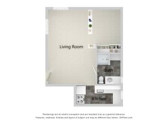 Palladian   Studio - The Clay Floor Plan