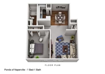 1 Bed 1 Bath Floor plan at The Ponds of Naperville, Naperville, IL