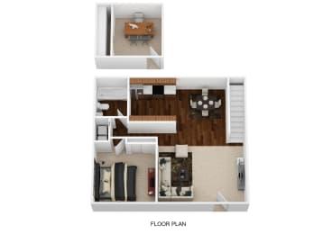 1BD Floor plan at Oak Run Apartment Homes, Ohio